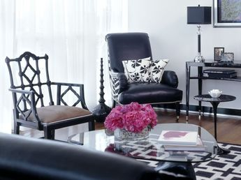Porch miami beach glitz glam project from sojo design for Black n white living room